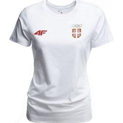 Koszulka damska Serbia Pyeongchang 2018 TSD700 - biały. Białe t-shirty damskie 4f, z nadrukiem, z bawełny, z dekoltem na plecach. W wyprzedaży za 79.99 zł.
