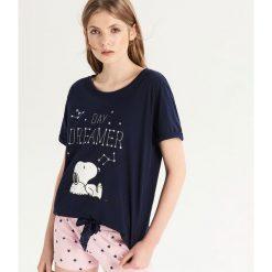 Dwuczęściowa piżama Snoopy - Granatowy. Niebieskie piżamy damskie Sinsay. Za 49.99 zł.