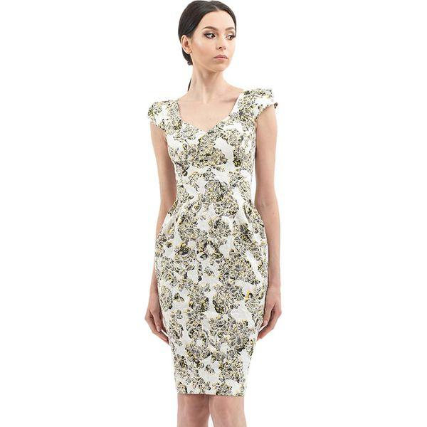 bc656b6eba Sukienka w kolorze biało-żółto-szarym ze wzorem - Białe sukienki ...