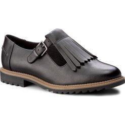 Półbuty CLARKS - Griffin Mia 261156344 Black Leather. Czarne półbuty damskie Clarks, ze skóry ekologicznej. W wyprzedaży za 209.00 zł.