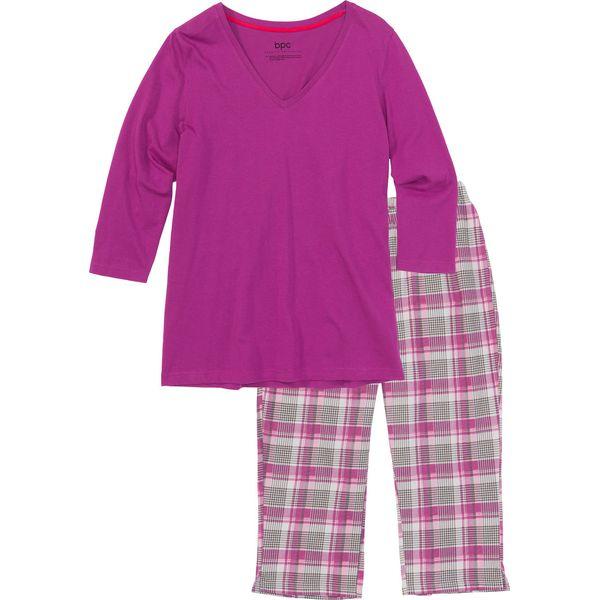 2964c4634da380 Piżama ze spodniami 3/4 bonprix różowy w kratę - Piżamy damskie ...