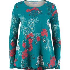 Tunika bawełniana shirtowa, długi rękaw bonprix kobaltowy z nadrukiem. Tuniki damskie marki bonprix. Za 37.99 zł.