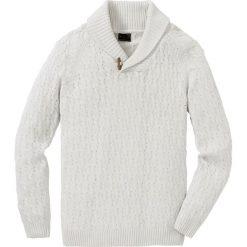 Sweter w warkocze z bawełny z recyclingu bonprix biel wełny. Białe swetry przez głowę męskie bonprix, z bawełny. Za 109.99 zł.