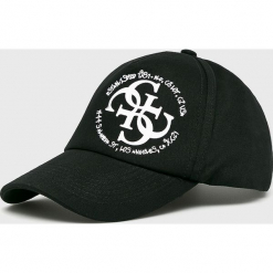 Guess Jeans - Czapka. Czarne czapki i kapelusze damskie Guess Jeans, z bawełny. Za 189.90 zł.