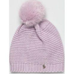 Trussardi Jeans - Czapka. Różowe czapki i kapelusze damskie TRUSSARDI JEANS, z dzianiny. W wyprzedaży za 149.90 zł.