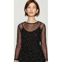 Transparentna bluzka z aplikacją - Czarny. Czarne bluzki damskie Sinsay, z aplikacjami. Za 49.99 zł.