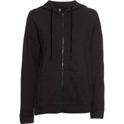 Bluza rozpinana z kapturem i aksamitnymi      troczkami bonprix czarny. Bluzy damskie marki KALENJI. Za 54.99 zł.
