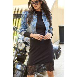 Klasyczna sukienka z koronką n131. Czarne sukienki damskie Nunu, w koronkowe wzory, z dresówki, eleganckie, z klasycznym kołnierzykiem. Za 139.00 zł.