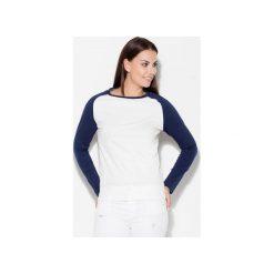 Bluzka K108 Granat. Niebieskie bluzki damskie Katrus, z dzianiny, z kontrastowym kołnierzykiem. Za 69.00 zł.