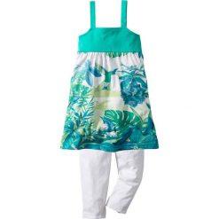 Sukienka + legginsy 3/4 (2 części) bonprix zielono-turkusowy. Legginsy dla dziewczynek bonprix, na ramiączkach. Za 27.99 zł.