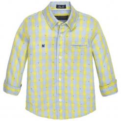 Koszula w kolorze żółto-szarym. Szare koszule dla chłopców marki Mayoral, w kratkę, z klasycznym kołnierzykiem. W wyprzedaży za 57.95 zł.