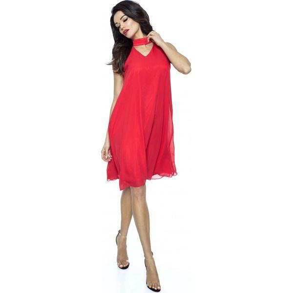 3c9394b749 Czerwona Trapezowa Sukienka Koktajlowa z Chokerem - Sukienki damskie ...