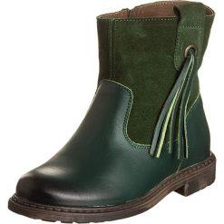 Skórzane botki w kolorze zielonym. Botki dziewczęce Zimowe obuwie dla dzieci. W wyprzedaży za 139.95 zł.