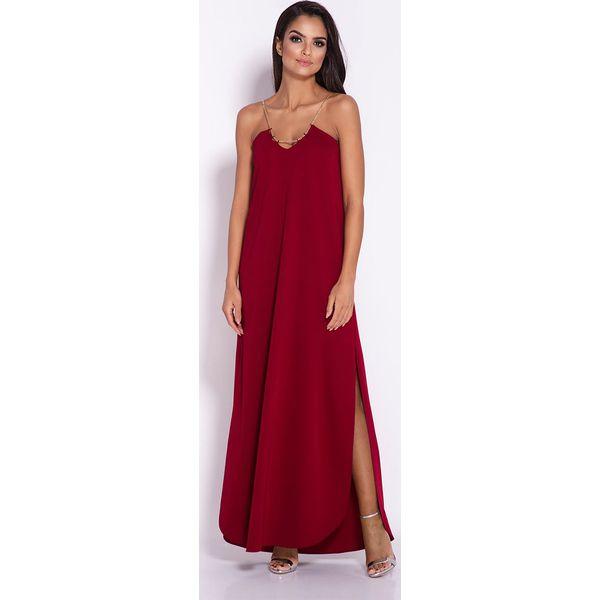 7dde4e87 Bordowa Elegancka Wieczorowa Sukienka Maxi na Łańcuszku