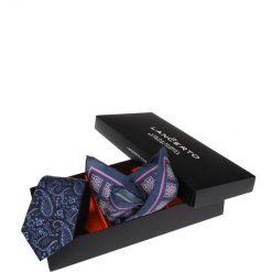 Zestaw Krawat plus Poszetka. Czarne krawaty i muchy LANCERTO, paisley, z jedwabiu, biznesowe. Za 159.80 zł.
