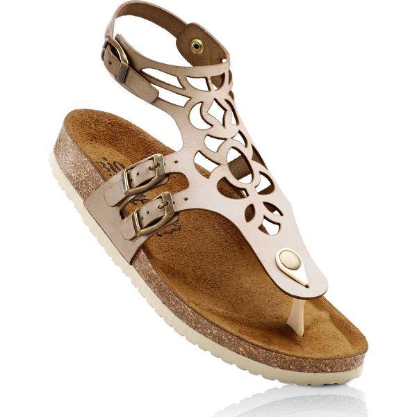 b5cce24e Wygodne sandały skórzane bonprix beżowy - Sandały damskie marki ...