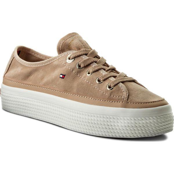 a6f228f6ad201 Sneakersy TOMMY HILFIGER - Suede Flatform Sneaker FW0FW02679 Dusty ...