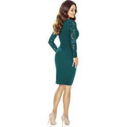 Zielona Koronkowa Sukienka z Założeniem Kopertowym. Zielone sukienki damskie Molly.pl, z koronki, biznesowe, z kopertowym dekoltem, z długim rękawem. Za 208.90 zł.