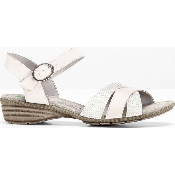 7273de2d Wygodne sandały skórzane bonprix biały - Sandały damskie bonprix. Za ...