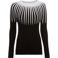 Sweter dzianinowy w paski bonprix czarno-kremowy. Swetry damskie marki bonprix. Za 119.99 zł.