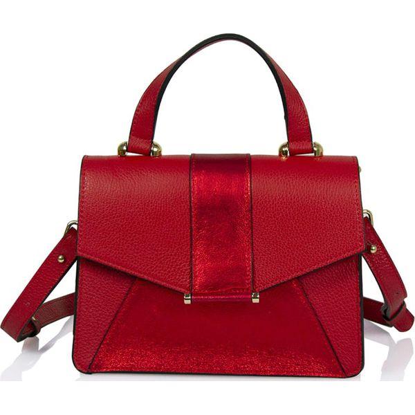 Skórzana torebka w kolorze czerwonym 25 x 30 x 14 cm