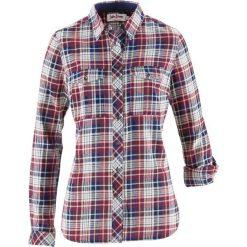 Koszula flanelowa, długi rękaw bonprix bordowo-kremowo-ciemnoniebieski w kratę. Czerwone koszule damskie bonprix, z długim rękawem. Za 74.99 zł.