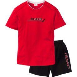Piżama z krótkimi spodenkami bonprix czerwono-czarny. Czerwone piżamy męskie bonprix, z krótkim rękawem. Za 34.99 zł.