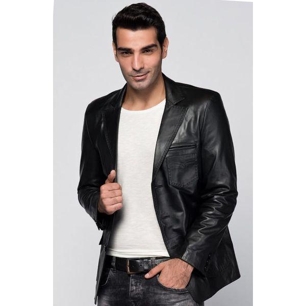 44ea20ce94f6 Skórzana kurtka w kolorze czarnym - Czarne kurtki męskie marki ...