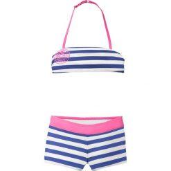 Bikini dziewczęce (2 części) bonprix szafirowo-biały w paski. Bielizna dla dziewczynek marki bonprix. Za 49.99 zł.