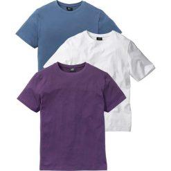 T-shirt (3 szt.) bonprix jagodowy + niebieski dżins + biały. Białe t-shirty męskie bonprix, z okrągłym kołnierzem. Za 68.97 zł.