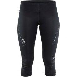 Craft Spodnie Essential Capri Black S. Czarne spodnie sportowe damskie Craft, z nadrukiem, z materiału. W wyprzedaży za 159.00 zł.