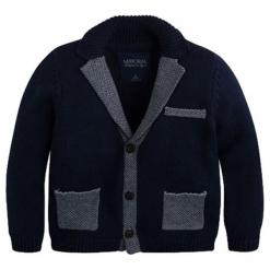 Kardigan w kolorze granatowym. Niebieskie swetry dla chłopców marki Mayoral. W wyprzedaży za 109.95 zł.