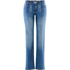 """Dżinsy ludowe STRAIGHT z haftem bonprix niebieski """"stone"""". Niebieskie jeansy damskie bonprix. Za 129.99 zł."""