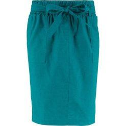 Spódnica lniana z wiązanym paskiem bonprix kobaltowo-turkusowy. Niebieskie spódnice damskie bonprix. Za 49.99 zł.