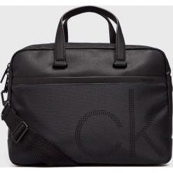 Calvin Klein - Torba. Czarne torby na laptopa męskie Calvin Klein, w paski, z bawełny. Za 649.90 zł.