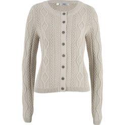 Sweter rozpinany w warkocze bonprix beżowo-szary. Brązowe kardigany damskie bonprix. Za 59.99 zł.
