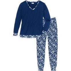 Piżama z miękkiego materiału bonprix ciemnoniebieski z nadrukiem. Niebieskie piżamy damskie bonprix, z nadrukiem. Za 79.99 zł.