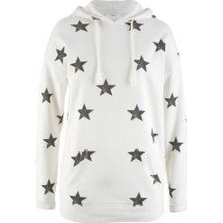 Bluza z kapturem i nadrukiem w gwiazdy bonprix biel wełny z nadrukiem. Bluzy damskie marki KALENJI. Za 49.99 zł.