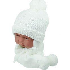Czapka niemowlęca z szalikiem CZ+S 001D biała. Czapki dla dzieci marki Reserved. Za 38.76 zł.