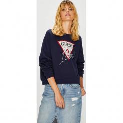Guess Jeans - Bluza. Szare bluzy damskie Guess Jeans, z aplikacjami, z bawełny. Za 319.90 zł.