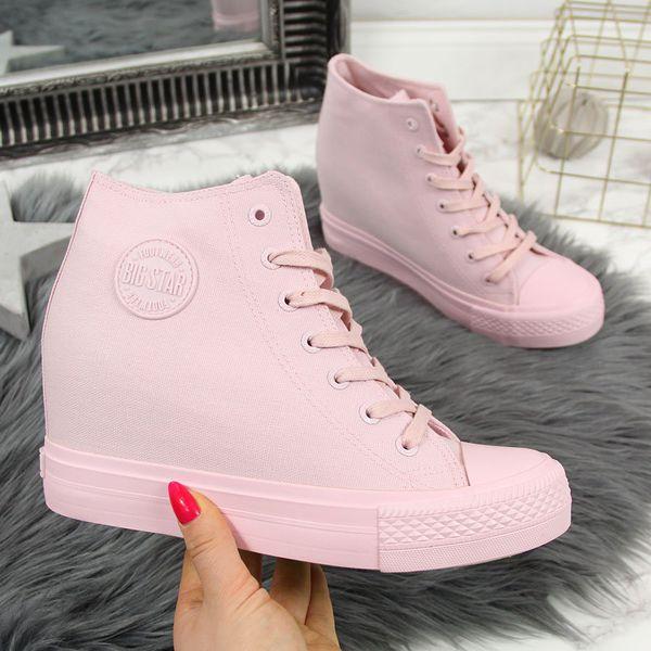 Trampki na koturnie sneakersy różowe Big Star FF274A196 różowy