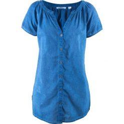 """Bluzka bawełniana """"cold-dyed"""", krótki rękaw bonprix lazurowy. Niebieskie bluzki damskie bonprix, z bawełny, z krótkim rękawem. Za 69.99 zł."""