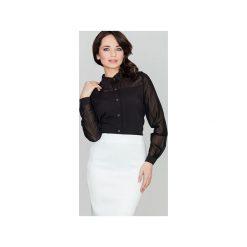 Koszula K229 Czarny. Czarne koszule damskie Lenitif, z tkaniny, klasyczne, z klasycznym kołnierzykiem. Za 99.00 zł.