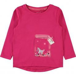 """Koszulka """"Racorn"""" w kolorze różowym. Czerwone bluzki dla dziewczynek Name it Kids, z bawełny, z kokardą, z długim rękawem. W wyprzedaży za 37.95 zł."""