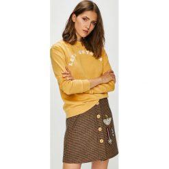 Roxy - Bluza. Brązowe bluzy damskie Roxy, z aplikacjami, z bawełny. Za 249.90 zł.
