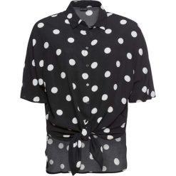 Bluzka z krótkim rękawem i przewiązaniem bonprix czarny w grochy. Czarne bluzki damskie bonprix, w grochy, z krótkim rękawem. Za 74.99 zł.