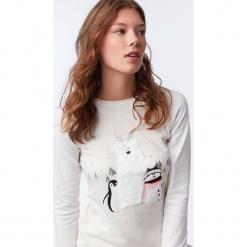 Etam - Top piżamowy. Szare piżamy damskie Etam, z nadrukiem, z bawełny. Za 99.90 zł.