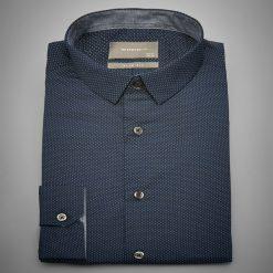 Koszula z mikroprintem slim fit - Granatowy. Niebieskie koszule męskie Reserved. Za 89.99 zł.