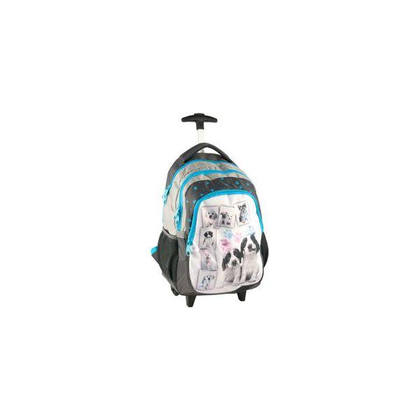 0ee44ce0fe2df Plecak szkolny na kółkach Pieski w czapkach Paso - Torby i plecaki ...