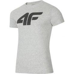 T-shirt męski TSM025 - chłodny jasny szary. Szare t-shirty męskie 4f, z nadrukiem, z bawełny. W wyprzedaży za 59.99 zł.
